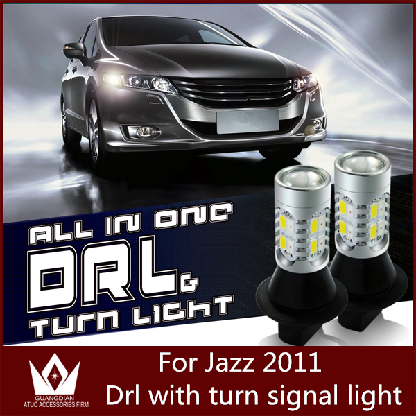 Guang Dian Car led light DRL with signal light Daytime Running Lights and Turn Signals light Fit For jazz 2010 T20 WY21W 7440<br><br>Aliexpress