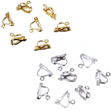 10*13mm 20pcs/lot Ear Clip DIY Creative Jewelry Accessories Bronze 14KGold Silver Earring Women Free Shipping(China)