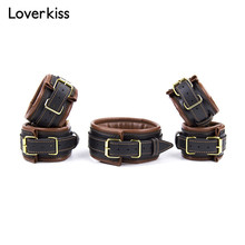 Buy Faux Leather Bdsm Bondage Set Fetish Sex Slave Neck Collar Leash,Hand Cuffs, Ankle Cuffs, Restraint Sex Toys Couples