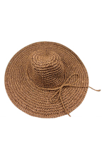 Hot cap big hat with brimmed hat folding beach vacation beach travel brown(China)