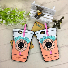 Hot Sale 3D Cartoon Silicon Smile Coffee Cup Case For Apple iPhone 6 6s 6Plus 7 Plus Phone Cases Silicone Rubber Cover