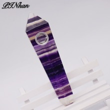 110mm Natural Quartz Crystal Wand Healing Crystal Carving natural gem mineral fluorite smoking pipe wholesale price