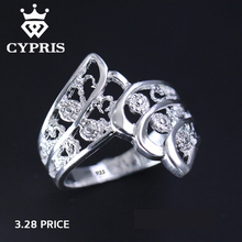HOT Angel wing silver Ring Flower silver ring women men plant Wholesale feather animal wedding lover's Valentine jewelry 925