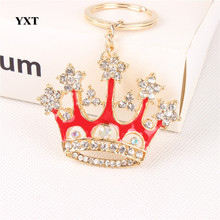 New Fashion Red King Crown Crystal Charm Pendant Purse Handbag Car Key Keyring Keychain Party Wedding Birthday Delicate Gift(China)