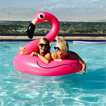 90CM Hot Sale Inflatable Flamingo Pool Toy Float Inflatable Pink Cute Ride-On Pool Swim Ring for Water Holiday Fun Party