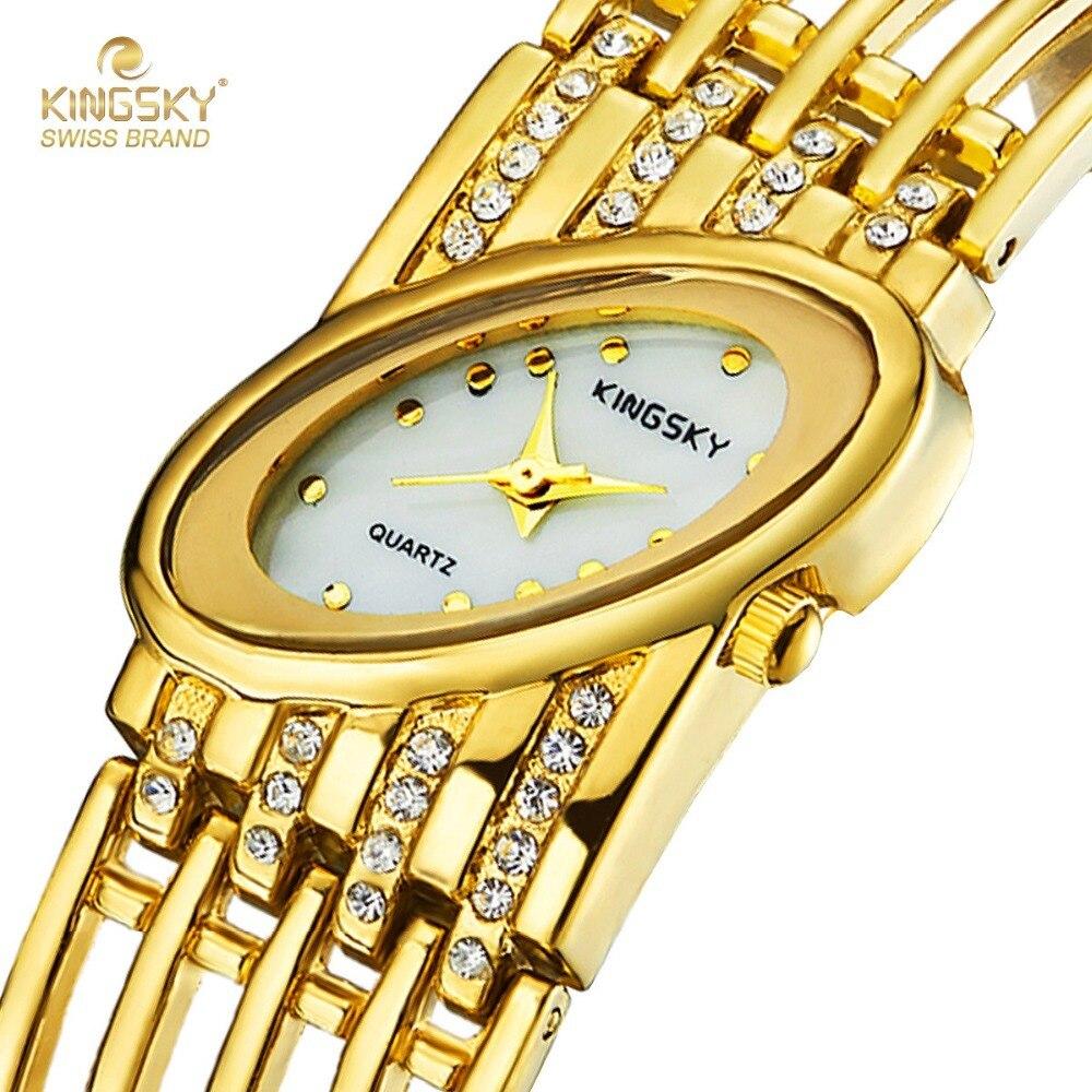 Fashion Gold Watches KINGSKY Brand Luxury Design Oval Face Women Dress Watch Japan Quartz Movement Wristwatch 2017 New<br>