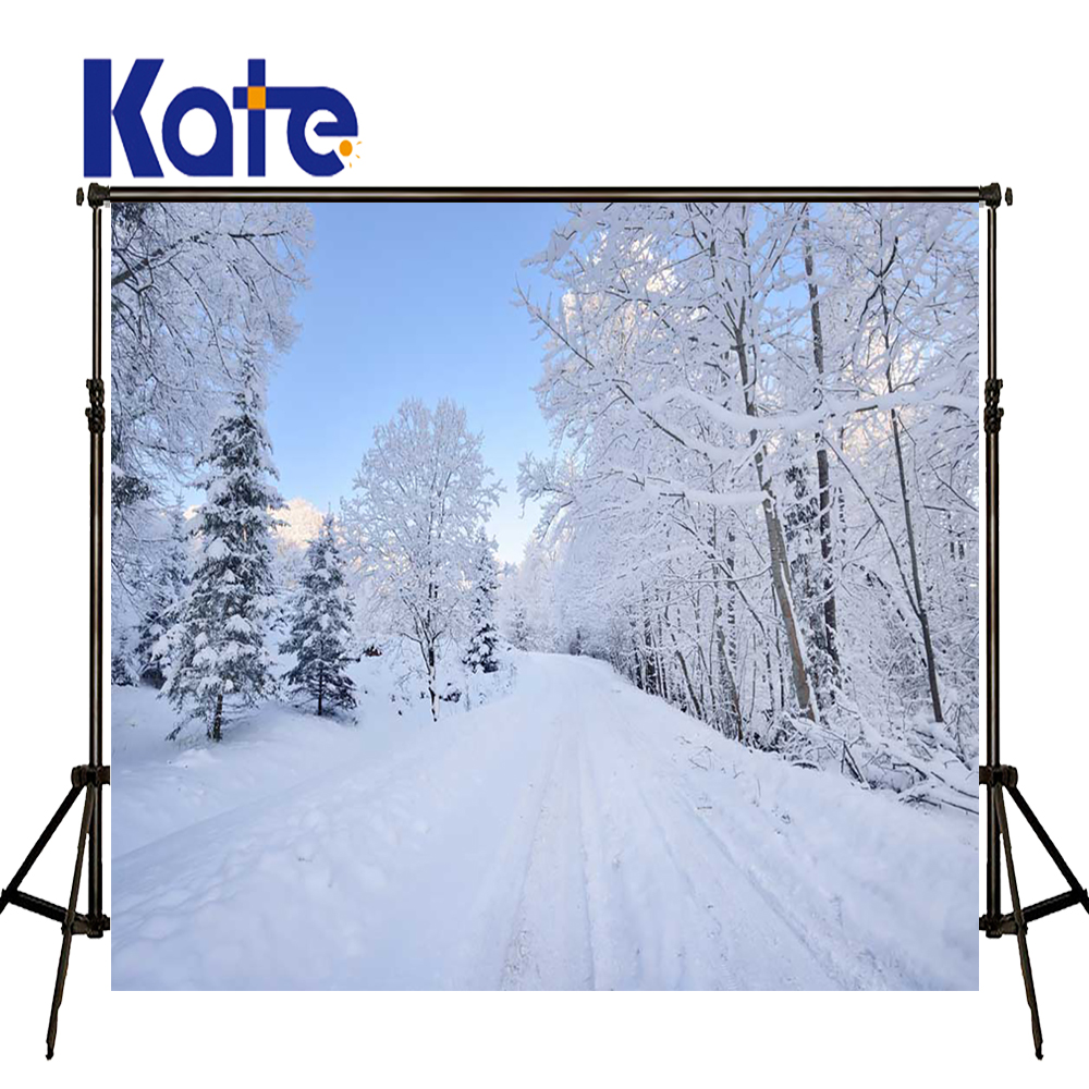 KATE Photo Background 5x7ft Winter Photography Backdrops Snowflakes Background White Scenery Forest Backdrops for Photo Studio<br>