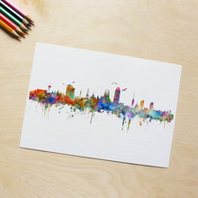 Barcelona Wall Hanging Colorful Pictures Paper Art Gift Spain Barcelona City Skyline Wall Art Poster Skyline Watercolor AP113(China)