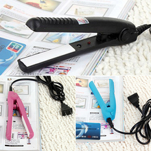 US Plug Mini Travel Ceramic Hair Crimper Curl Straightener Flats Iron Perm Splint