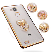 Diamond gold Metal Ring Holder for Huawei P9 lite plus good design cover durable casing shell protection(China)