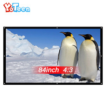 YOTEEN Projector Screen 84inch 4:3 Curtain Projector Screen Suitable for HD 3D LED Smart Movie home theater Projector Screen 84