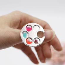1 PC Mini Finger Nail Art Mixing Palette For Free Hand Manicure Ring Nail Tools Metal
