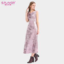 2017 Summer Velvet Long Dresses V Neck Split Sexy Solid Sleeveless Women Elegante Mid-calf Vestidos Dresses(China)