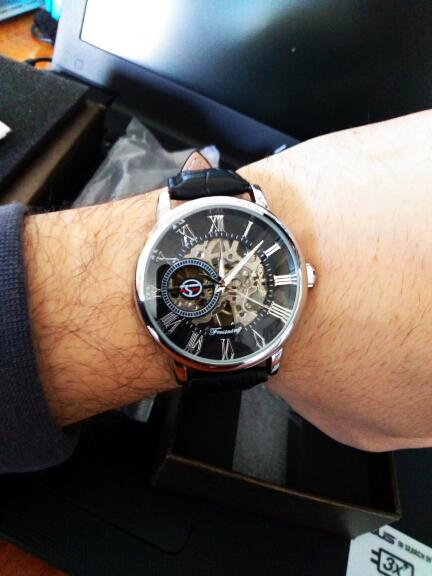 Forsining 3d Logo Design Hollow Engraving Black Gold Case Leather Skeleton Mechanical Watches Men Luxury Brand Heren Horloge 19