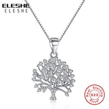 Buy ELESHE Wholesale Long Chain 925 Sterling Silver Tree life Necklace Pendant Women Love Crystal Necklace Fashion Jewelry for $10.04 in AliExpress store