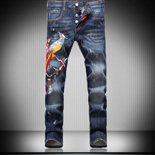 Mens Blue Stone Washed Embroidery High Quality Brand Mid Waist Slim Skinny Fit  Ripped ScratchedJeans  For Men MB16205