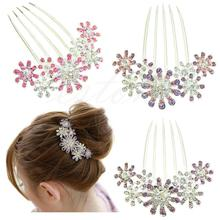 New rendy Crystal Rhinestone Petal Tuck Comb Women Flower Hair Pin Hair Clip Hair Jewelry