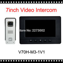 "V70H-M3-Black 7"" Wired NightVisual Video Door Phone Intercom System Home Security TFT LCD Monitor Waterproof 700TVL CMOS Camera"