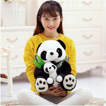 One Piece Lovely Mother&Kid Panda Holding Bamboo Plush Toys Parent-Child Chinese National Treasure Pandas Dolls Friend Gifts(China)