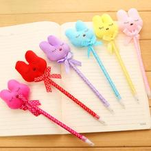 1pcs/lot New Kawaii 3D soft plush rabbit design ballpoint pen 0.5mm ball pen fashion students' Promotion Gift prize(China)