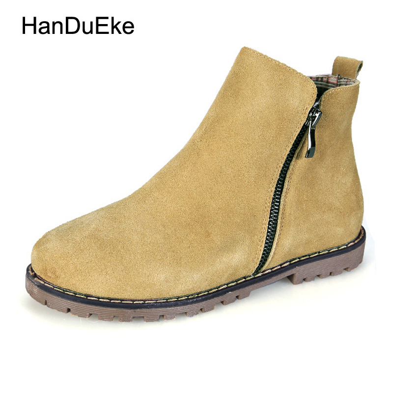 Size 34-43 2017 New Autumn Womens Boots Winter Keep Warm Plus Fur Chelsea Boots Genuine Leather Zipper Flat Boots<br>