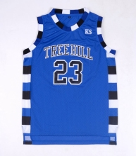 EJ One Tree Hill Nathan Scott #23 Ravens Blue Basketball Jersey