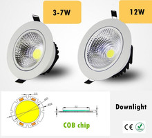 Dimmable Led downlight light COB Ceiling Spot Light 3w 5w 7w 12w 85-265V ceiling recessed Lights Indoor Lighting(China)