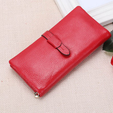 EFFLOM High Quality Genuine Leather Wallet Women Luxury Brand Fine Grained Long Slim Wallet Red Cowhide Ladies Purse Money Clip