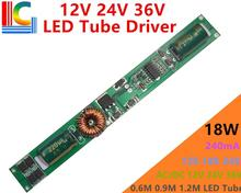 Solar Compatible 18W LED Tube Driver Input AC/DC 12V 24V 36V Input 120mA 180mA 240mA for T5 T8 Tube EMC CE Freeshipping 5PCs/Lot(China)