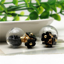2015 new hot design fashion brand jewelry glass Flowers stud earrings double Imitation pearls side Daisy earring for women