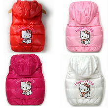 New Winter Girls Vest Cartoon Cotton Hello Kitty Hooded Girls Jacket Soft Fleeces Keeping Warm Children Coats Kids Clothing
