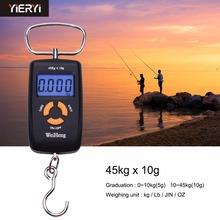 yieryi Pocket LCD Hanging Hook Fish Scale High Precision Balanca Digital Weighing Scale For Food 45kg 10g Crane Scale Backlight(China)