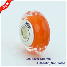 Fits for European Bracelet & Necklace Orange Beads New Original 925 Sterling Silver Beads DIY Jewelry Free Shipping 085003A