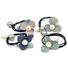 Buy 2017 Pearls Fabric Flowers Elastics Hair Holders Bands Gum Gold Grey Pearls Women Rubber Bands Girl's Headwear Hair Accessories for $1.35 in AliExpress store