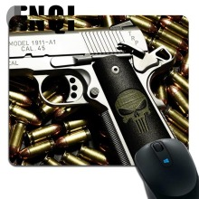 2017 hot sell PISTOL AND BULLETS Background Notebook Silica gel Mini mouse pad(China)