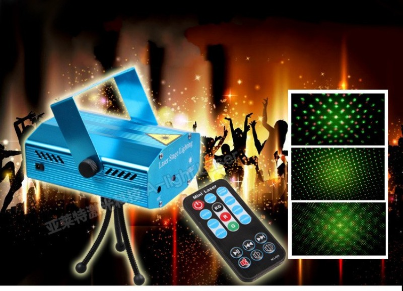 Remote Control Mini LED Stage Light Lamp R&amp;G Laser Projector Stage Lighting Sound Control DJ Disco Party Club With Power Adapter<br><br>Aliexpress