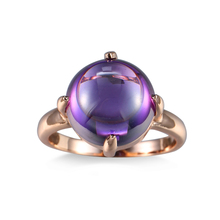 TANGKA new To attend the party women's ring Clawed purple zircon Copper ring Elegant female wearing clothing jewelry