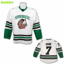 SexeMara Black Friday UND University North Dakota Fighting Sioux Jerseys #7 T.J. TJ Oshie White Green Black Home Hockey Jersey(China)
