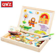 QWZ New Multifunctional Educational Farm Animal Wooden Magnetic Puzzle Toys for Child Jigsaw Baby Drawing Easel Board Kids Gifts