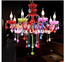 Free Shipping D72cm 8L Colorful Tiffany Crystal Chandelier LED Candelabro for Coffee Shop Bar Kid LED Crystal Chandelier Lamp