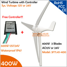 Manufacturer Promotion!!! 12V/24V AC 1.4m wheel diameter 3 blades 400W Wind Turbine Generator with Free 600W wind Controller(China)