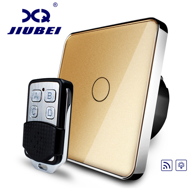 Jiubei, EU Standard Switch, Golden Glass Panel, AC 220~250V Remote&amp; Dimmer Function Wall Light Switch(Remote), C701DR-13&amp;RMT01<br>