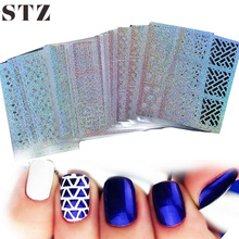 STZ 24 Sheet/sets DIY Nail Vinyls 24sylesHollow Irregular Stencils Stamp Nail Art DIY Manicure Sticker Laser Silver  STZK01-24