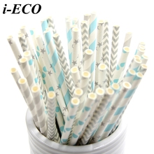 125PCS Colorful Mixed Designs Paper Straws Party Straws Kids Birthday/Wedding Party Decorations Home Decor Drinking Paper Straws(China)