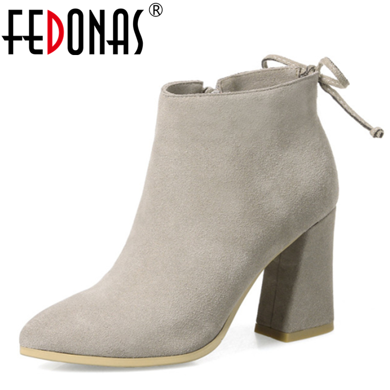 FEDONAS 2017 Brand Fashion Genuine Leather Women Snow Boots Cow Suede Sexy Ankle Boots Pointed Toe Winter Shoes Women Boots34-43<br>