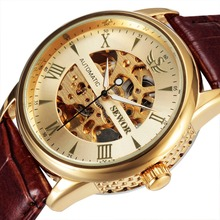 SEWOR Men Luxury Brand Roman Numbers Skeleton Leather Casual Watch Automatic Mechanical Wristwatch Gift Box Relogio Releges 2016