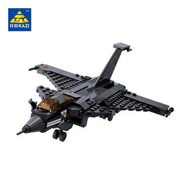 Avión de combate militar kazi bloques 191 unids ladrillos bloques huecos de los juguetes educativos para los niños