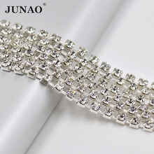 JUNAO ss12 7.4 Meter Clear Crystals Rhinestones Cup Chain Banding Glass Crystal Strass Trim Bridal Applique For Wedding Dress