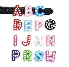"8MM Enamel Full Rhinestones Slide Letters 20PCS/lot  "" N--Z Can Choose Each Letter "" Fit For DIY Key Chains & Phone Strips"
