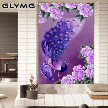 GLymg Needlework 5d Diy Diamond Painting Cross Stitch Purple Peacock Diamond Embroidery Round Rubik's Cube Drill Mosaic Picture(China)